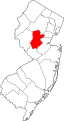 map of New Jersey showing county highlighted